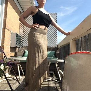 Tan Gauze High Low Skirt